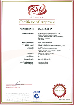 SCpower Dimmable LED Driver SAA Certificate